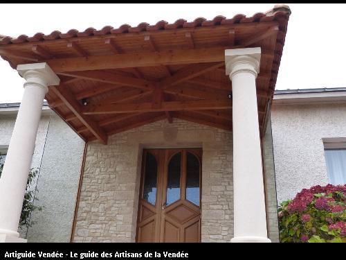 Fabrication d'un porche avec poteau pierre Porte d'entrée tiercée  secteur l'orbrie 85200