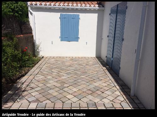 Création terrasse avec pose en diagonale