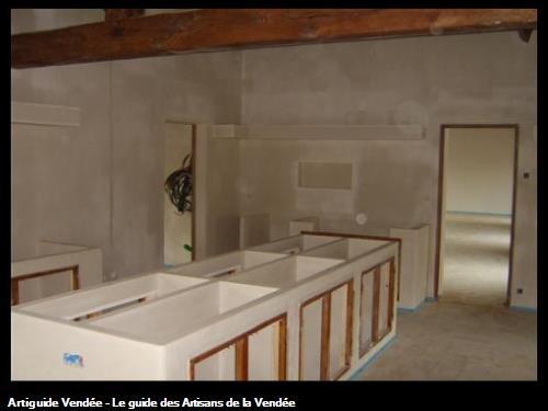 réalisation d'un aménagement de cuisine entièrement en plâtre  à soullans 85300
