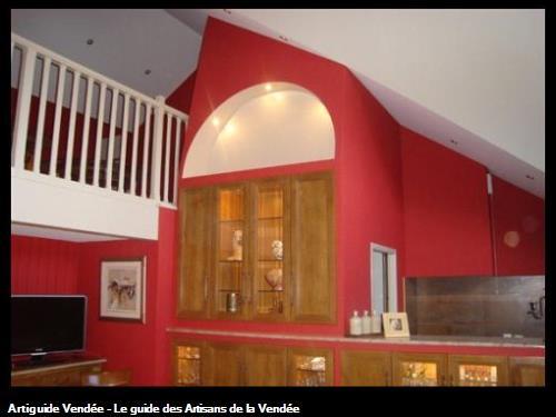 Cuisine en merisier avec aménagement mezzanine, Challans 85300