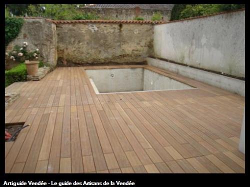 Terrasse bois autour de la piscine, Challans 85300