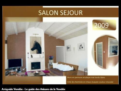 chaux stuccéepoutres cérusées blancréalisé par l'entreprise Guy Praud SARL (Mouilleron le Captif 85000)
