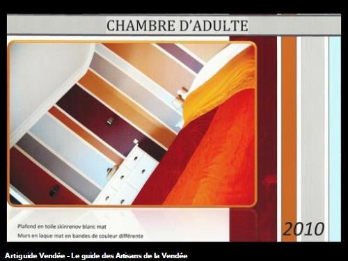 murs en toile de verre lisse,bande en peinture type laque mat,réalisé par l'entreprise Guy Praud SARL (Mouilleron le Captif 85000)