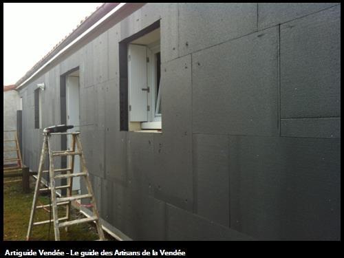 La pose du polystyrène - Rénovation de logements à St Phibert de Bouaine