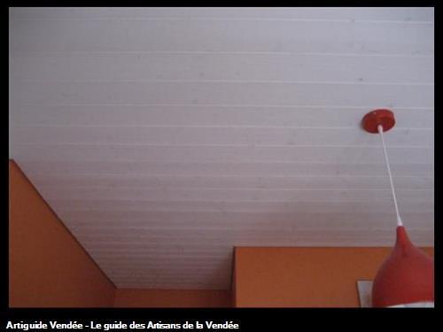 Réalisation d'un lambris BOIS ton Blanc Artique chez un particulierCommune de Saint Georges de Pointindoux (85150)
