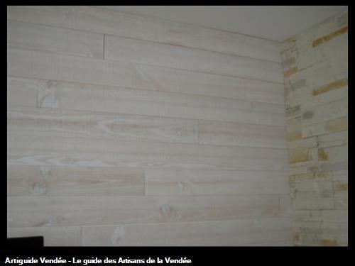 Réalisation d'un lambris BOIS sur mur existantCommune de Saint Georges de Pointindoux (85150)