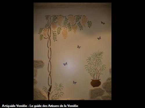 pochoir glycines et vase bambou