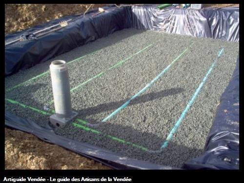 Réalisation d'un filtre à sable drainé