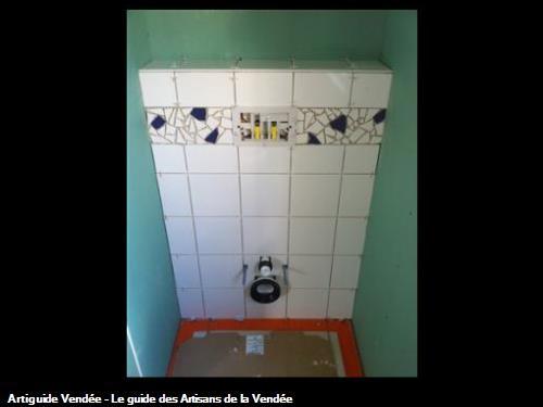 Carrelage mosaïque sur toilette suspendu 85360 La Tranche sur Mer